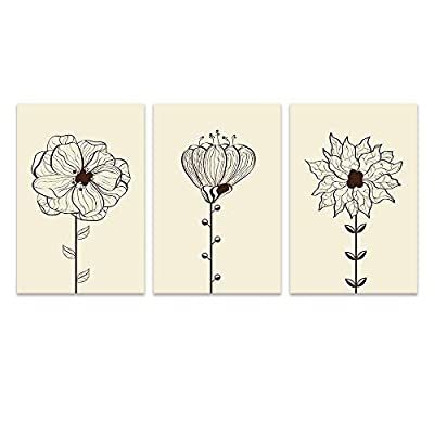 3 Panel Canvas Wall Art - Hand Drawing Style Flowers on Light Yellow Background - Giclee Print Gallery Wrap Modern Home Art Ready to Hang - 16