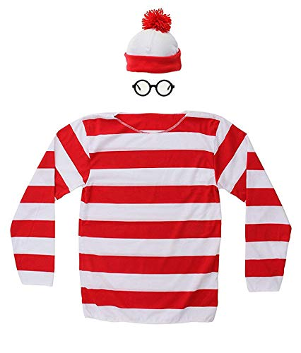 Hilary Ella Adult Where's Waldo Costume Funny Sweatshirt Outfit Glasses Suits ()