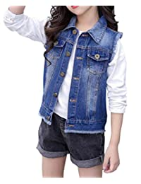 HomeToy Girls Denim Vest Kids Cotton Sleeveless Jean Jacket Outwear