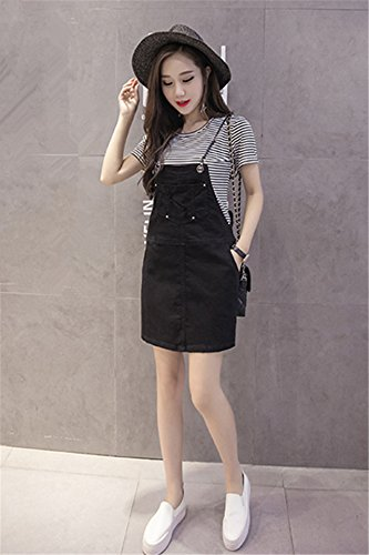 0c0db7ebd3e Amazon.com   Generic denim strap dress summer  17  new Korean Women girl  black short skirt thin piece fitted skirts  tide   Beauty