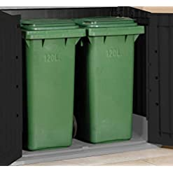 Keter Store It Out Midi Storage Shed Black and Grey with wheelie bins