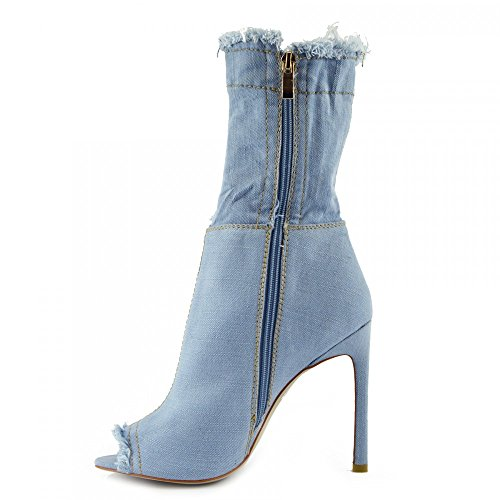 High Light Tacón Stiletch de Footwear Mujer NF446 Stiletch Kick Aguja de Botas Altas Toe Para Denim xFfqnO8S