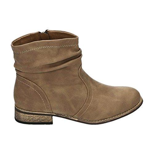 Jumex Damen Stiefeletten Cowboy Western Stiefel Boots Flache Schuhe HP86 Khaki