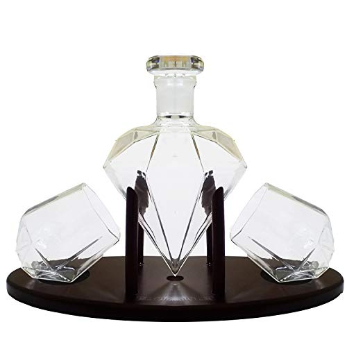 Diamond Whiskey Decanter With 2 Diamond Glasses & Mahogany Wooden Holder – Elegant Handcrafted Crafted Glass Decanter For Liquor, Scotch, Rum, Bourbon, Vodka, Tequila – Great Gift Idea – 750ml by RUGLUSH (Image #4)