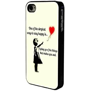 Black Frame Banksy Girl- Simple Way to Stay happy- iphone 4 4S Case/Back cover Metal and Hard Plastic case