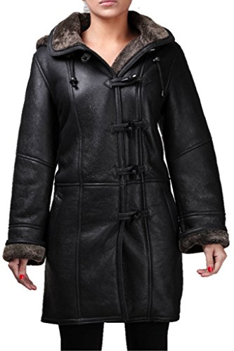 Women's Black Warm Hooded Real Shearling Sheepskin Leather Duffle Coat (Black Leather Shearling Coat)