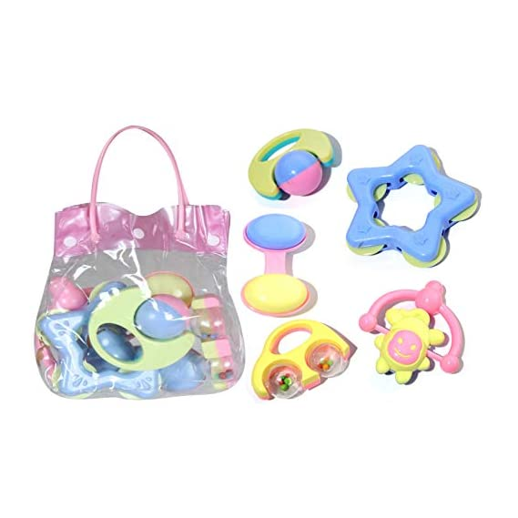 MWG Exports Co Bright & Colorful 5 Piece Infant and Toddlers Baby Rattle Musical Baby Care Toys for Kids with Carry Bag