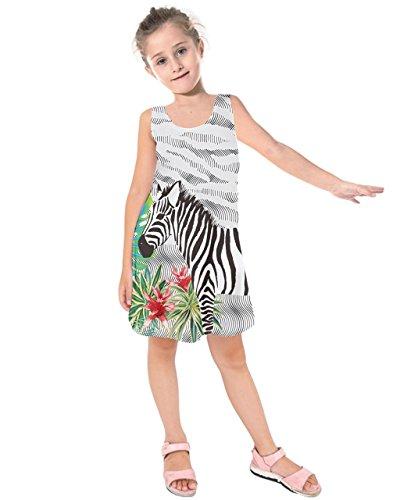 PattyCandy Girls Gray Zebra Kids Sleeveless Summer Casual Dress - 7 (Zebra Girls Dress)