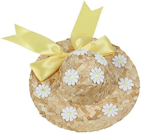 POPETPOP 애완 동물 스트로 햇 견 용 밀 짚 모자 봄 여름 꽃무늬 귀여운 핸드메이드 뜨개질 크기 L (옐로우) / POPETPOP Pet Straw Hat Dog Straw Hat SpringSummer Flower Pattern Cute Handmade Knitting Size L (Yellow)