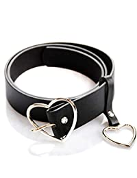 NUOMI Silver Heart-shaped Buckle Belt, Wide Black Faux Leather Waist Belts for Women Girls, Jeans Pants Dresses Accessories