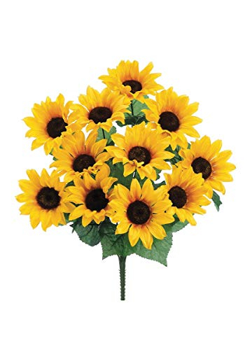 Artificial Sunflower Bush in Yellow - 19