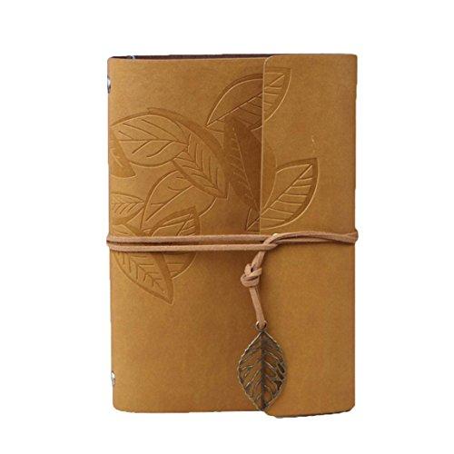 Khaki Leaf - HARDCOVER JOURNAL Writing Notebook - Antique Handmade HARDCOVER Bound Daily Notepad, Vintage Leaf Series, (Leaves, Khaki)