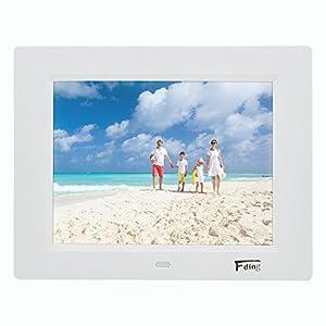 8 Inch Hi-Res LED Digital Photo Frame with Motion Sensor & 8 GB SD Card-White