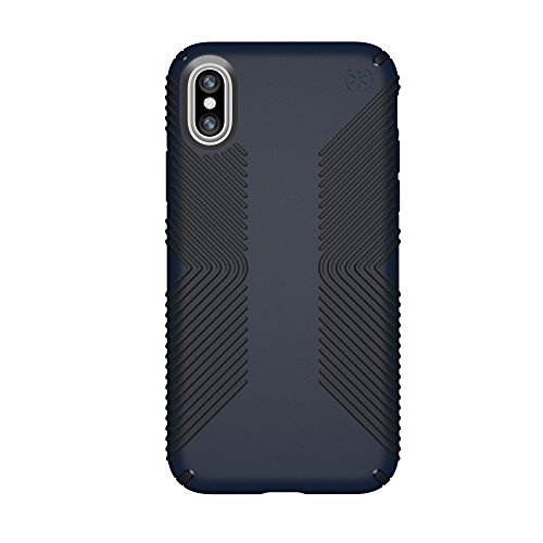 Speck iPhone X Presidio Grip Case, 10-Foot Drop Protected iPhone Case with Scratch-Resistant Finish and Protective No-Slip Grip, Eclipse Blue/Carbon Black