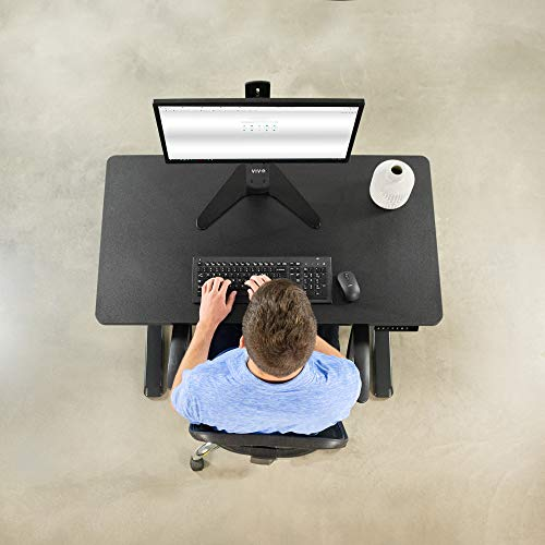 VIVO Electric Height Adjustable 43 x 24 inch Memory Stand Up Desk, Black Solid One-Piece Table Top, Black Frame, Standing Workstation with Preset Controller, DESK-KIT-1B4B
