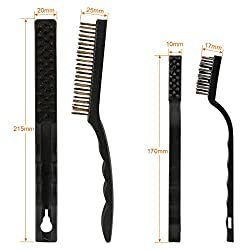 GWHOLE 6 Pcs Wire Brush Set for Cleaning Welding Slag and Rust, Stainless Steel, Brass and Nylon