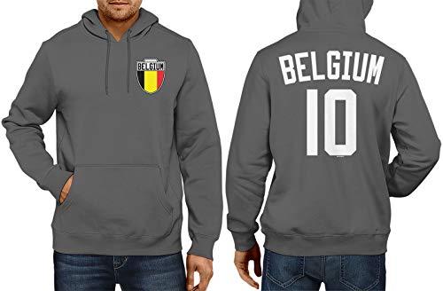 HAASE UNLIMITED Belgium Soccer Jersey - Belgian Unisex Hoodie Sweatshirt (Charcoal, Medium)