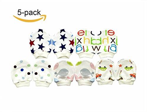 Infant Scratch Mittens (NinkyNonk Newborn Baby Cotton Gloves No Scratch Mittens for 0-6 Months Boys Girls, 5 Pack)