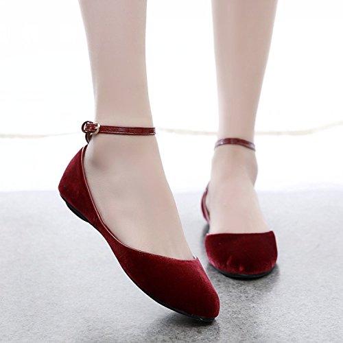 En Boda Zapatos Luz De Zapatos Ranurada El Verano Flat Zapatos De Ballet Pequeños De Los GAOLIM Zapatos rojo Hembra Mujer Rojos Vino Solo Amarre Zapatos I7R6vq