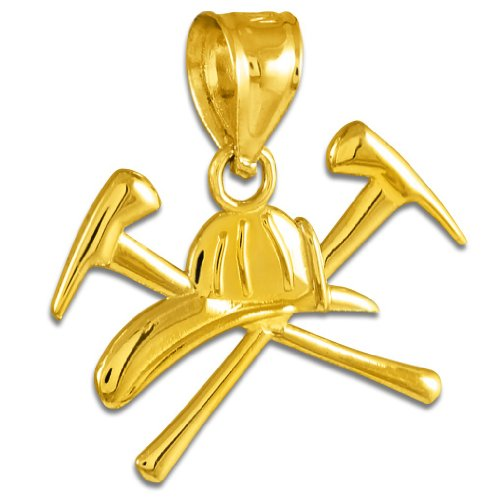 American Heroes 14k Gold Firefighter Axes & Helmet Charm Fire Department Pendant ()