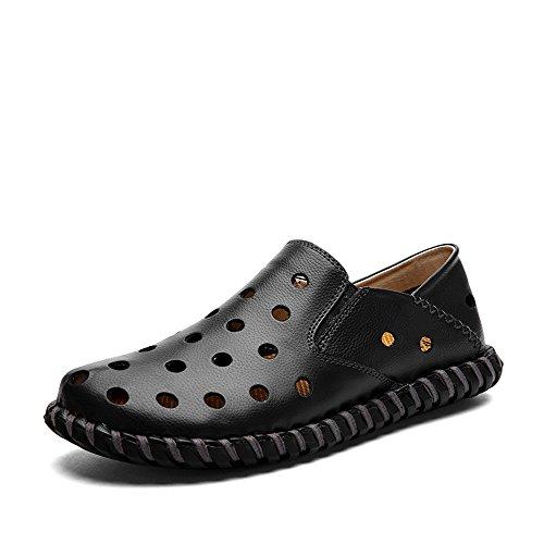 Yuanli Mens Handgjorda Sömnad Äkta Läder Tillfällig Gång Slip-on Loafers Täppa Svart