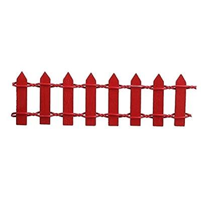Hujinlder Wooden Micro Garden Picket Fence Plant Pot Decoration (Red)