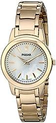 Pulsar Women's PRW012 Gold-Tone Watch with Link Bracelet