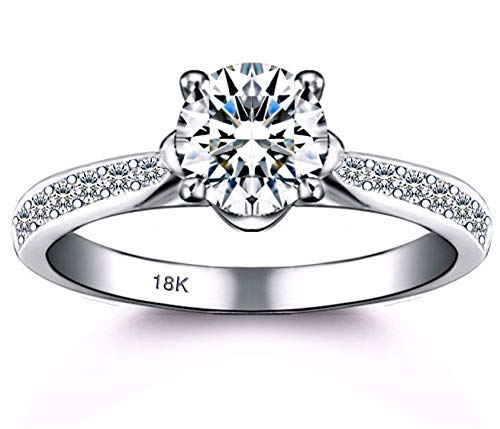 AndreAngel Engagement Wedding Ring Bridal Marriage Promise Proposal Women White Gold 18K Carat Cubic Zirconia Lab Diamond AAAAA Stone Pave Statement Princess Cut Solitaire Vintage Valentine's Size 8