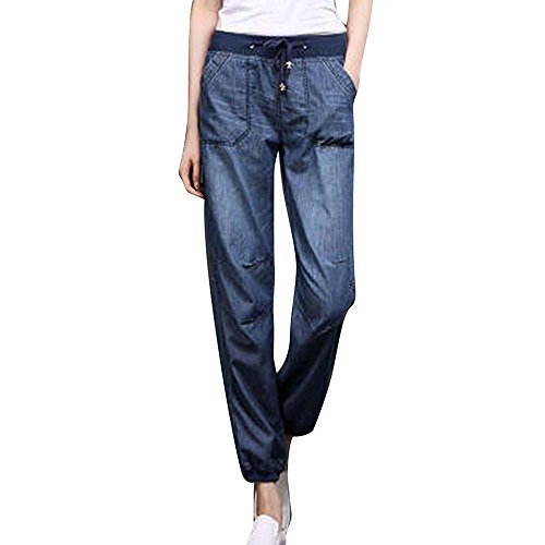 Huateng Casual Jeans des femmes - Pantalon de sport en vrac Drawstring Fashion pour l't Bleu 2