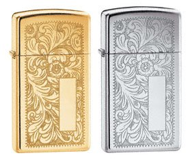 Zippo Lighter Set - Slim Brass Venetian, and Slim High Polish Chrome Venetian, Pack of Two