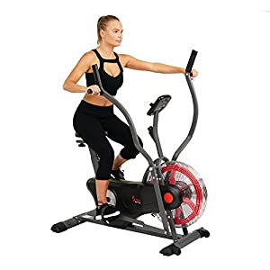 Sunny Health & Fitness Air Bike Trainer, Fan Exercise Bike with Unlimited Resistance, Cross Training for Home SF B2640
