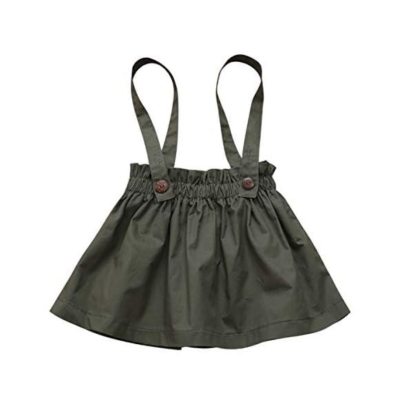 DaMohony - set di vestiti per bambina a maniche lunghe, pagliaccetto a righe, gonna con bretelle e fascia, per bambina… 5