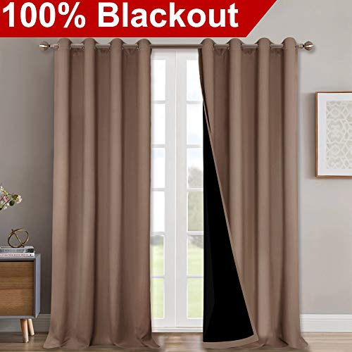 NICETOWN Extra Long Truly Blackout Drapes for Hall and Villa, 100% Blackout Window Curtain Panels with Black Lined for Night Shift Worker, 52