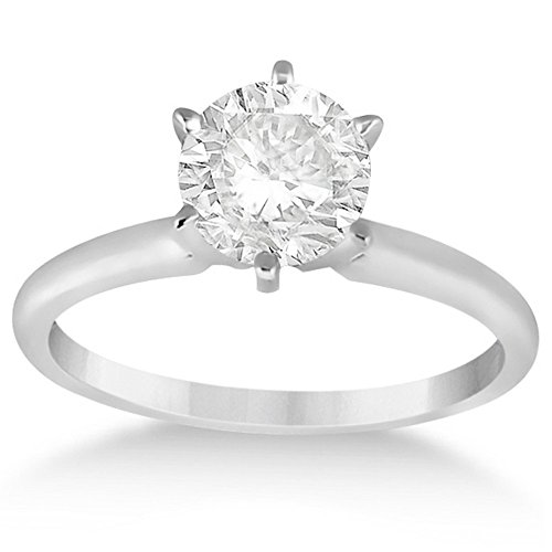 Mounting White 14k Solitaire Gold (Six-Prong 14k White Gold Solitaire Engagement Ring Setting)