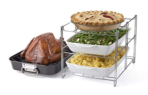 Betty Crocker Oven Insert with Large Non-Stick. 3-Tier Baking Rack and Roasting Pan, Included, Charcoal and Chrome (Insert Roaster Oven)