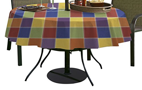 """Elrene Home Fashions 16123MLT Check Outdoor Flannel Back Vinyl BBQ Umbrella Tablecloth, Multicolor, 70"""" Round"""