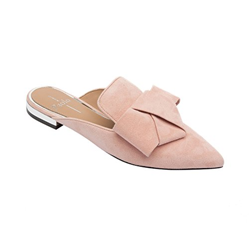 ANYA | Pointy Toe Origami Bow Slip-On Mule Flat Leather Suede Rose Suede