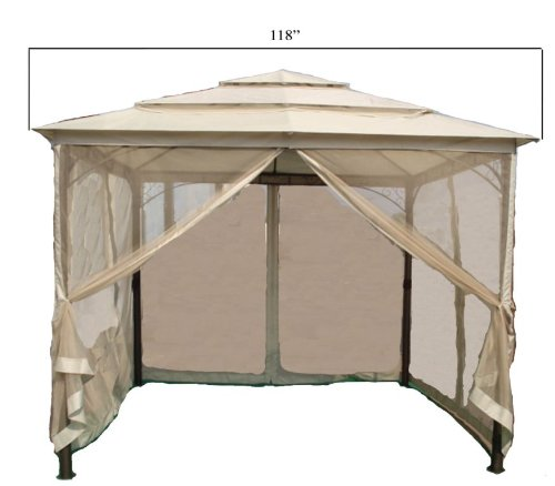 046504193237 - DC America LQGO19323MBR-BB 10-Foot by 10-Foot Three Tier Gazebo with Insect Screen, Dark Bronze, with Beige Polyester Top carousel main 0