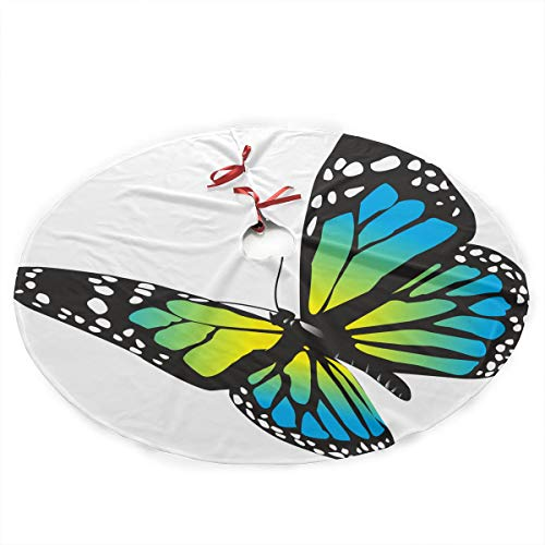 YANGGE Christmas Tree Skirt Blue Monarch Butterfly Xmas Ornament,Holiday New Year Party Decoration