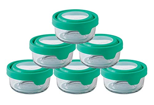 Anchor Hocking TrueSeal Glass Food Storage Containers with Lid, Mint Green, 1 Cup (6 Pack)