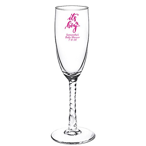 Personalized Color Printed Twisted Stem Champagne Flute - It's A Boy - Fuchsia - 144 pack (Twisted Flute Stem)