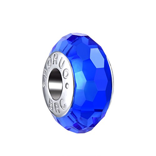 Boruo 925 Sterling Silver Czech Crystal Fascinating Facet Sapphire Glass Charms Beads Spacers September Birthstone Solid Core Charm Fit all Bracelets. -