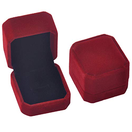 iSuperb Set of 2 Wine Red Velvet Couple Ring Box Earring Jewelry Case Gift Boxes 2.2x1.9x1.6inch (Earring Box Zales)