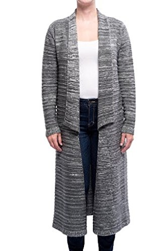 Arpeggio Women's Textured Duster Cardigan Small Grey