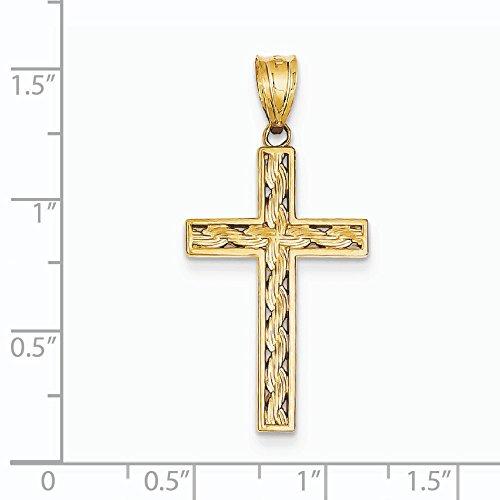 Corde 14 Carats Pendentif croix-Dimensions :  26 x 17 mm-JewelryWeb