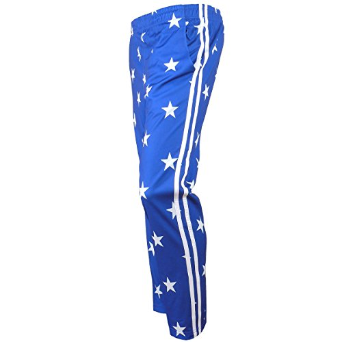 myglory77mall Men's Running Jogging Track Suit Warm Up Pants Gym Training Wear S US(L Asian Tag) Blue Star
