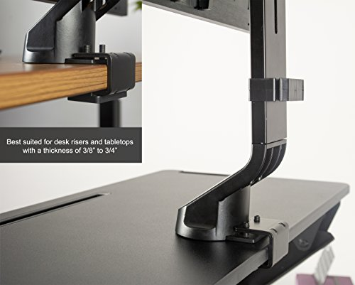 VIVO Black Adjustable Single Monitor Mount for Sit-Stand Workstation Desk Converter | Monitor Arm Fits One (1) Screen up to 32'' (STAND-V001U) by VIVO (Image #4)
