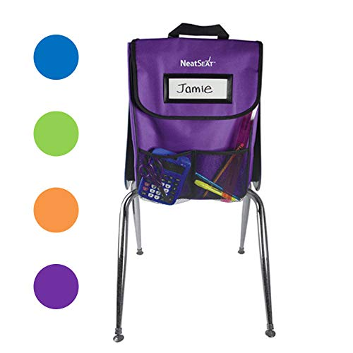 EAI Education NeatSeat Classroom Chair Organizer | Oversized Name-Tag Card, Dual Inner Pockets, One of Each Color: Blue, Lime, Orange, Purple, 16