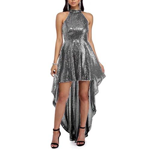 High Women's Sequin Prom Bridesmaid Sliver Dresses Halter Elegant Dresses Low AiniDress 5wXwqrg