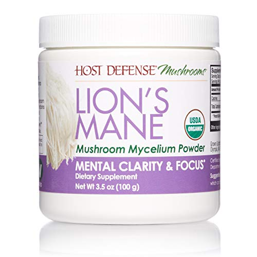 Host Defense, Lions Mane Mushroom Powder, Supports Mental Clarity, Focus and Memory, Certified Organic Supplement, 3.5 oz (66 Servings)